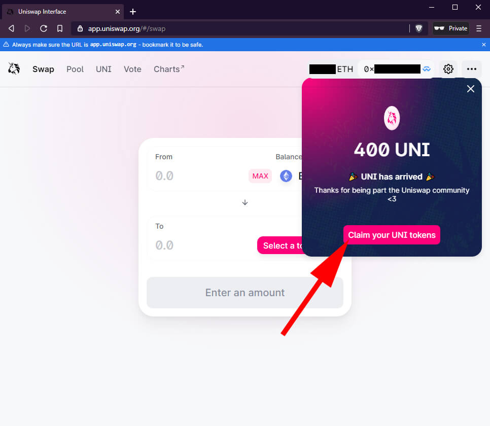 How to claim UNI tokens with Bridge Wallet screenshot 4