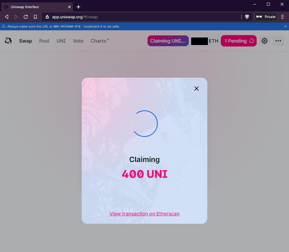 How to claim UNI tokens with Bridge Wallet screenshot 7