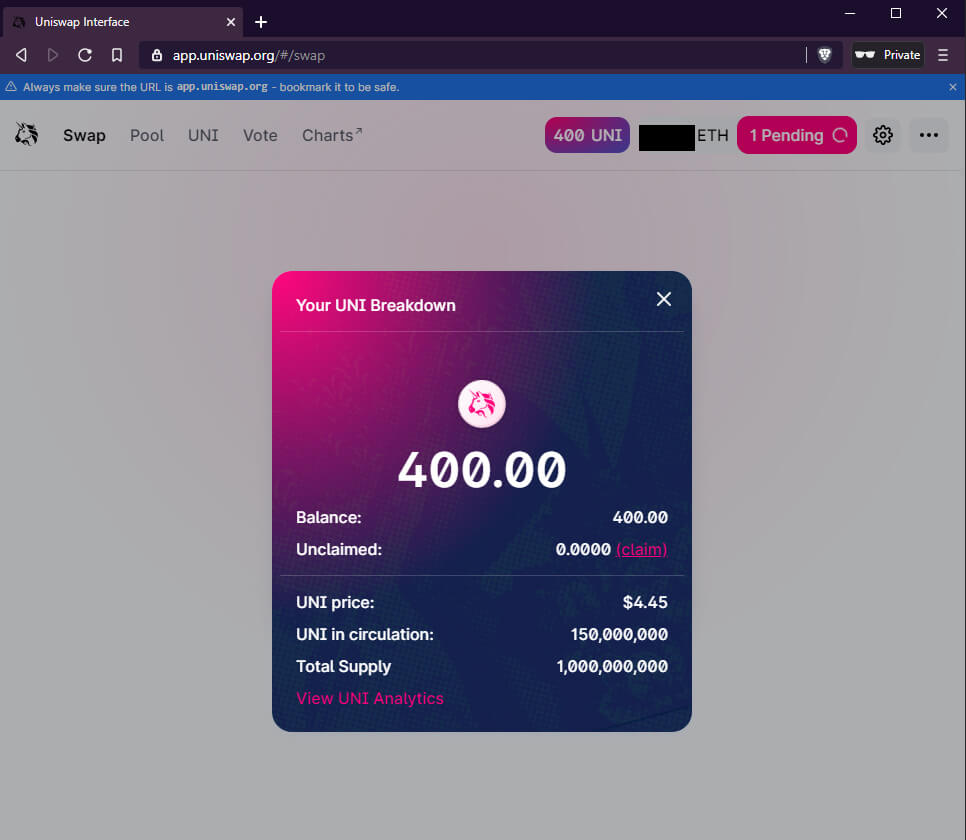 How to claim UNI tokens with Bridge Wallet screenshot 8